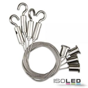 Isoled 4 set suspension de course avec mousqueton pour panneaux LED, chrome