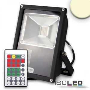 Isoled LED Fluter mit HF-Bewegungssensor 35W, warmweiß 110°, schwarz, IP65