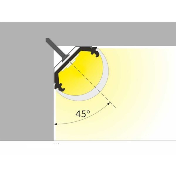 LED Eckprofil 45 Grad silber ohne Abdeckung