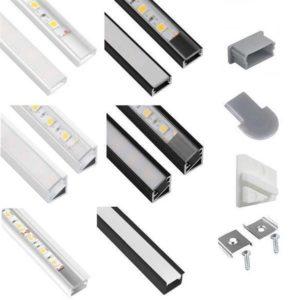 LED-profil LED-remsor 2m aluminium silver, svart eller vitt inkl. Överdrag och tillbehör