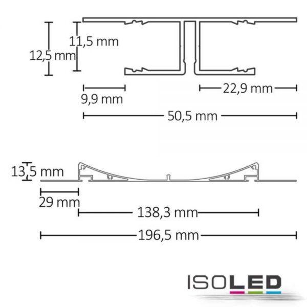LED Trockenbauprofl Double 200cm silber